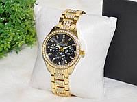 Женские часы Ролекс ( Rolex ) стразы золотые с черным циферблатом., фото 1