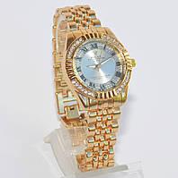 Женские часы Ролекс ( Rolex ) золотые с серебристым циферблатом, фото 1