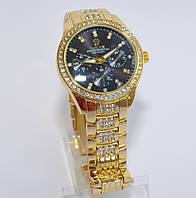 Женские часы Ролекс ( Rolex ) золотые с черным экраном, фото 1