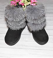 Зимние замшевые сапоги угии с натуральным мехом лисы чернобурки, фото 1