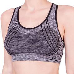 Спортивный женский топ для фитнеса Biweier Черный + серый