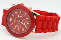 Часы Geneva Женева красные с силиконовым ремешком, фото 1