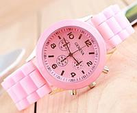 Часы Geneva Женева розовые с силиконовым ремешком