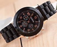 Часы Geneva Женева черные с силиконовым ремешком