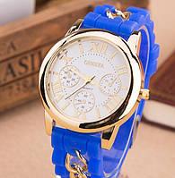 Женские часы Geneva синие с цепочкой