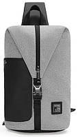 Модный городской однолямочный рюкзак для бизнеса и путешествий Arctic Hunter XB00061, влагозащищённый, 5л Светло-серый