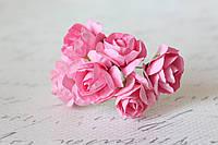 Бумажные цветочки розы 6 шт/уп. 3 см для скрапбукинга розового цвета, фото 1