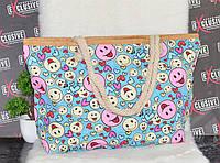 Пляжная сумочка с канатными ручками Смайлы, фото 1