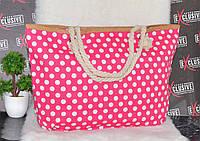 Летняя пляжная сумка розовая в горошек, фото 1