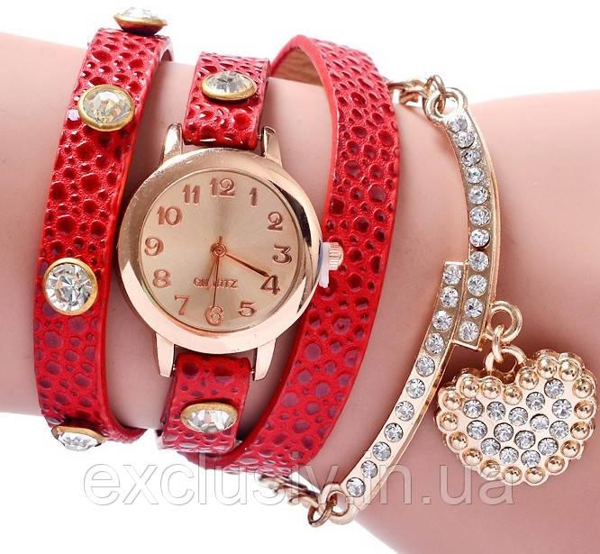 5b6a455af1d8 Красивые женские часы красные с браслетом - Bigl.ua
