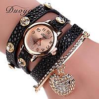 Красивые женские часы черные с браслетом