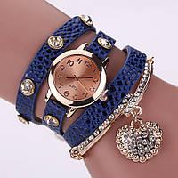 Красивые женские часы синие с браслетом
