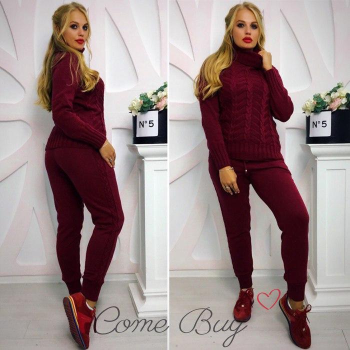 Вязаный женский костюм бордового цвета 42-52р