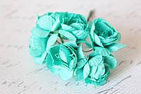 Бумажные цветочки розы 6 шт/уп. 3 см для скрапбукинга бирюзового цвета, фото 1