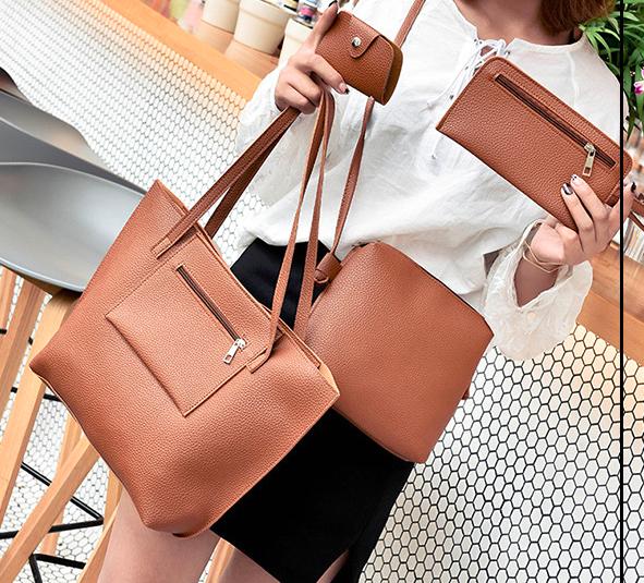 Коричневый набор из 3-х женских сумок с карманом