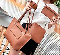 Коричневый набор из 3-х женских сумок с карманом, фото 1