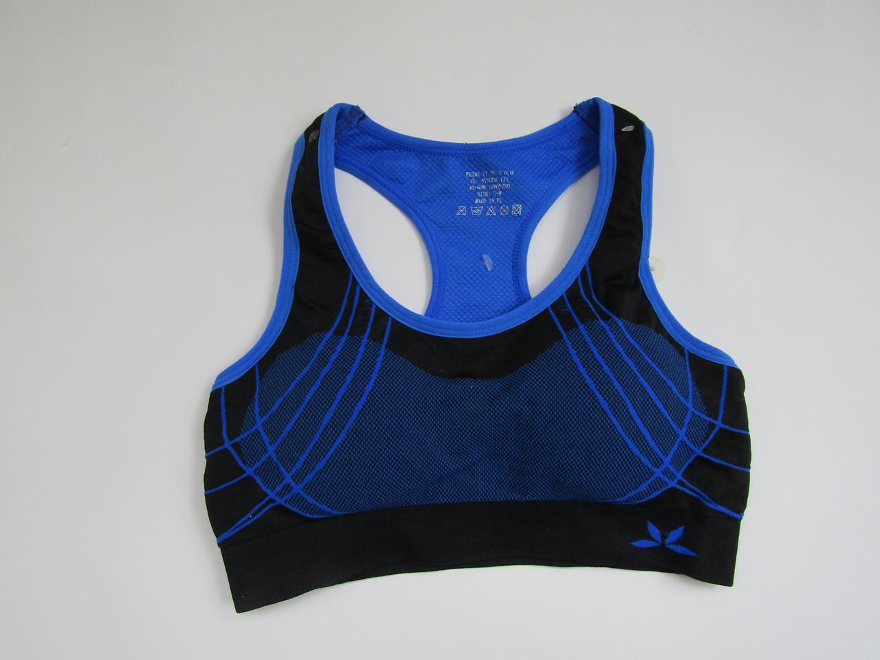 Спортивный женский топ для фитнеса Biweier Черный + синий