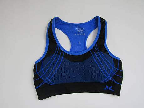 Спортивный женский топ для фитнеса Biweier Черный + синий, фото 2