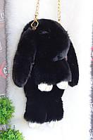 Меховая сумка-рюкзак черный Зайчик (кролик).