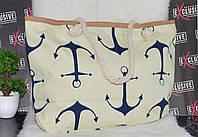Пляжная сумка с канатными ручками Якоря, фото 1