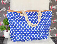 Летняя пляжная сумка синяя в горошек, фото 1