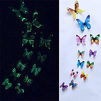 3D Бабочки Для Декора Светятся в Темноте разноцветные