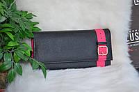 Кошелек черный с розовой окантовкой., фото 1