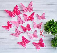 Бабочки для декора розовые в горошек., фото 1