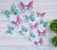 Бабочки для декора фиолетовые с голубым.