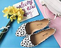 Туфли женские кожаные с ласточками  Marcella (чёрные и белые), фото 1
