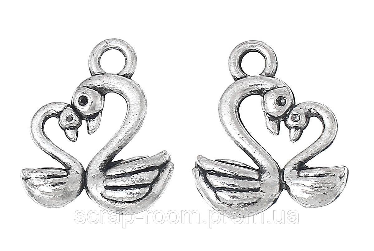 Подвеска металлическая Лебеди серебро 15*13 мм