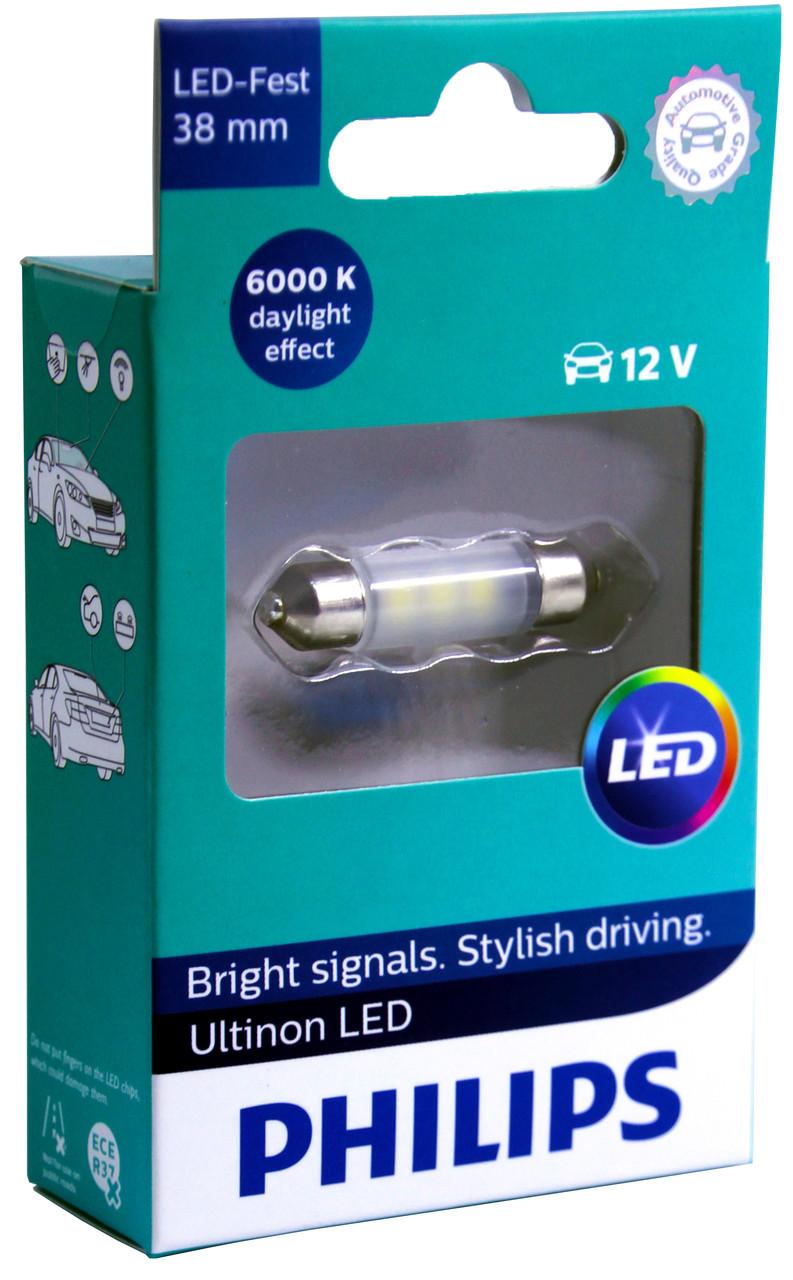 Автолампа диодная T11-038 LED 38mm, 1 шт, 11854ULWX1, C5W, C10W, цвет свечения белый