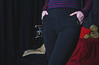 Черные брючные лосины с карманами