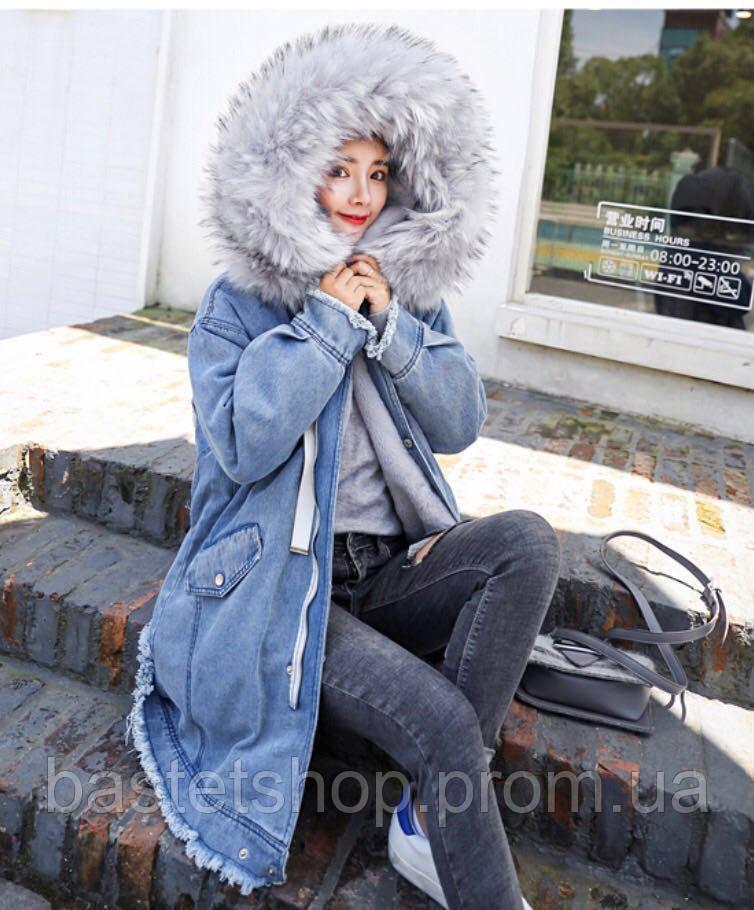 4359eee2 Женское длинное джинсовое пальто с мехом кролика - BASTET SHOP - интернет  магазин женской одежды номер
