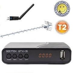 Т2 комплект: приемник GEOTEX GTX-35   WiFi адаптер GEOTEX   уличная антенна DVB_19КА (19 db!)