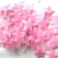 Набор розовых светонакопительных звезд 100шт. Фосфорные Звезды., фото 1