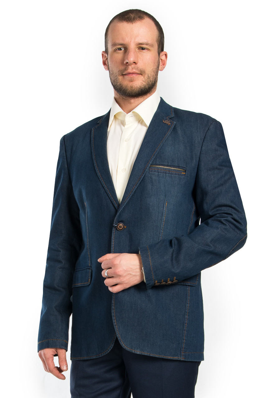 Джинсовый модельный мужской пиджак Victor Enzo 7035  продажа bdc06eb20e1bc