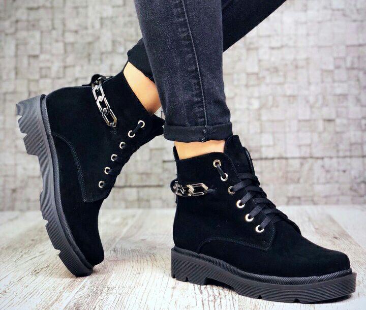 d44f3651485c08 Стильні замшеві чорні демісезонні жіночі черевики з ланцюгом - VZUTA.COM.