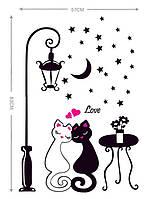 Интерьерная наклейка влюбленные коты 83 см, фото 1