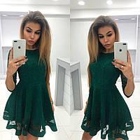 808118ed0ad Женское стильное платье из креп - дайвинга с напылением + сеткой Флок 42-  48 рр