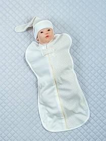 """Евро-пеленка кокон для новорожденных """"Горошек"""", молочный (интерлок)"""