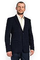 Мужской тёмно-синий пиджак в клетку Victor Enzo 5005
