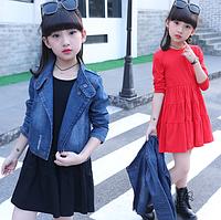 Одяг для дівчаток, джинсова куртка + однотонне плаття з довгими рукавами, модний одяг для дівчаток