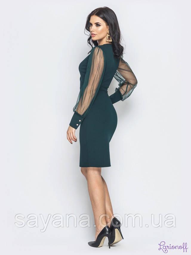 женское платье с рукавом-сетка