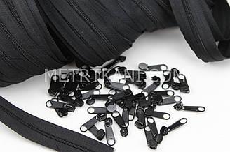 Бегунок металлический черный для рулонной молнии № БМ-149-Т3
