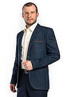 Джинсовый мужской пиджак с прорезными карманами Victor Enzo 7050
