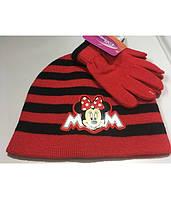 Набор Детский на Девочку Шапка и Перчатки Disney Демисезон Весна Осень