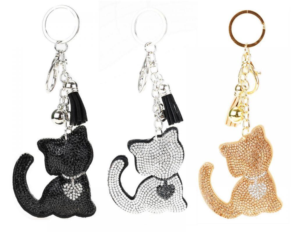 Красивый брелок-подвеска Cat Glitter для ключей, сумок и рюкзаков со стразами и кисточкой 01082