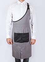 Фартук официанта серый с косым нагрудником, униформа для персонала, индивидуальный пошив, все размеры