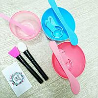 Набор Мисок для альгинантных масок силиконовая+ пластиковая со шпателями Цвет ГОЛУБОЙ, фото 1